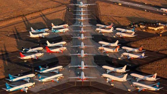 MOSES LAKE, WA - OCTOBER 23: Boeing 737 MAX airplanes, along with one Boeing 787 at top, are parked at Grant County International Airport October 23, 2019 in Moses Lake, Washington. Boeing reported that its profits were down by more than half in the latest quarter. The company has finished updates and testing on the 737 MAX and plans to have the planes flying by the end of the year. (Photo by David Ryder/Getty Images)