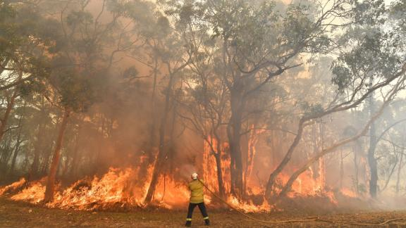 An Australian firefighter in the Central Coast north of Sydney on December 10, 2019.