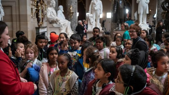 A group of children tours the Capitol on Wednesday.