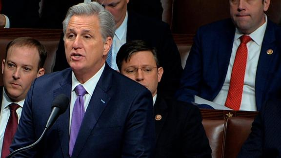 House Minority Leader Kevin McCarthy of Calif., speaks as the House of Representatives begins debate on the articles of impeachment against President Donald Trump at the Capitol in Washington, Wednesday, Dec. 18, 2019.