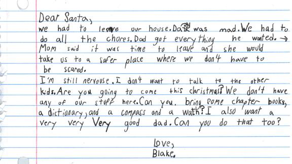 A 7-year-old's wish list for Santa after temporarily living in a domestic violence shelter