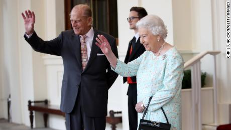 Queen Elizabeth II and Prince Philip during a State visit by the King and Queen of Spain in London, 2017.