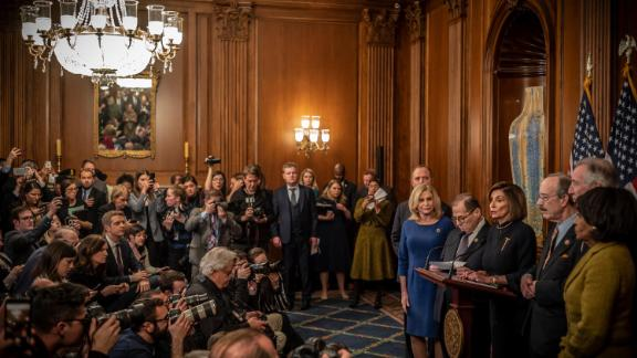 December 18, 2019  Speaker Nancy Pelosi and House leaders at a press conference following the vote to impeach President Trump. Scenes at the US Capitol on the day the House voted to impeach President Trump.
