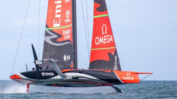 Emirates Team New Zealand's AC75 Te Aihe on the Waitemata Harbour in Auckland, New Zealand 36th America's Cup