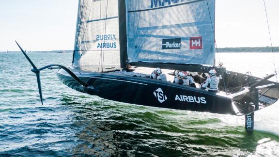 "American Magic sailing its AC75 ""Defiant"" on Narragansett Bay."