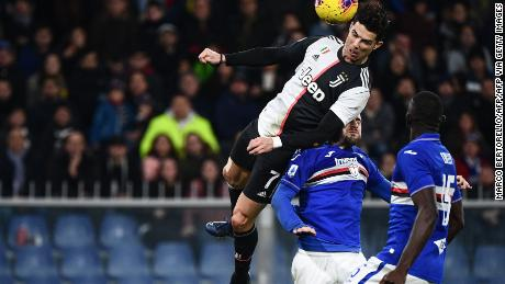 Cristiano Ronaldo's athletic header helped Juventus to victory over Sampdoria.