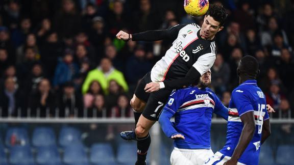 Cristiano Ronaldo's athletic header helped Juventus to victory over Sampdoria.