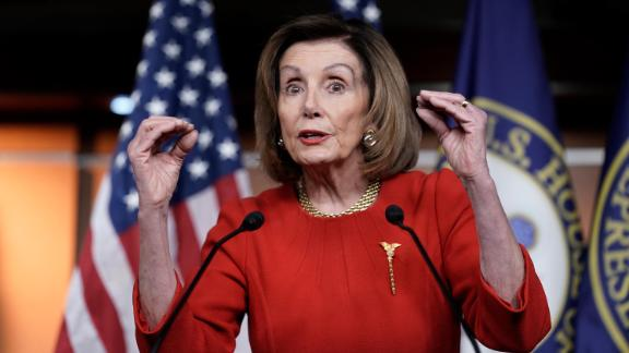 House Speaker Nancy Pelosi, D-Calif., meets with reporters at the Capitol in Washington, Thursday, Dec. 19, 2019, on the day after the House of Representatives voted to impeach President Donald Trump on two charges, abuse of power and obstruction of Congress.