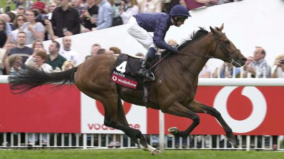 Racehorse Galileo commands a a huge fee for his breeding services. Pictured, winning the Epsom Derby race, in June 2001.