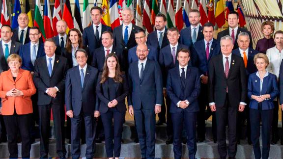 Family photo of the European Leaders. Finnish Prime Minister Sanna Marin is sixth from left, front row.