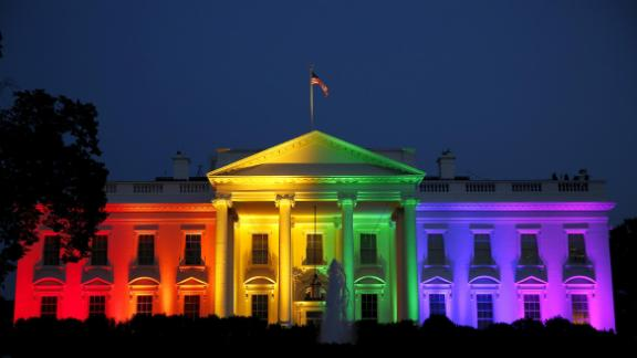 The White House is illuminated in rainbow colors after the historic Supreme Court ruling legalizing gay marriage.