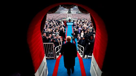 President-elect Donald J. Trump arrives at the inauguration of Donald J. Trump at the United States Capitol on January 20, 2017 in Washington, DC.