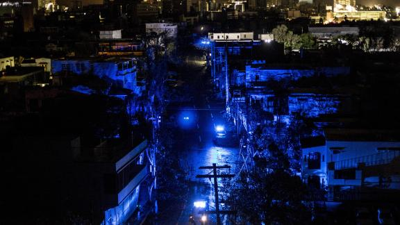 San Juan is seen during a blackout after Hurricane Maria made landfall on September 20, 2017 in Puerto Rico.