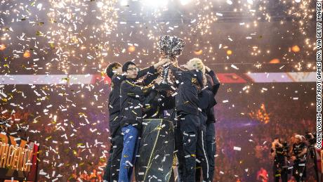 FunPlus Phoenix lift the League of Legends Summoner's Cup following victory in the 2019 League of Legends World Championships at AccorHotels Arena on November 10, 2019 in Paris, France.