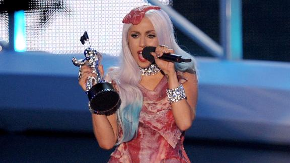 Lady Gaga at the 2010 MTV Video Music Awards in that famous meat dress. Truly unforgettable.