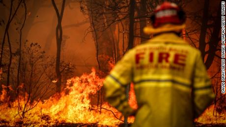 An Australian firefighter in the town of Bilpin, outside Sydney, on December 19, 2019.