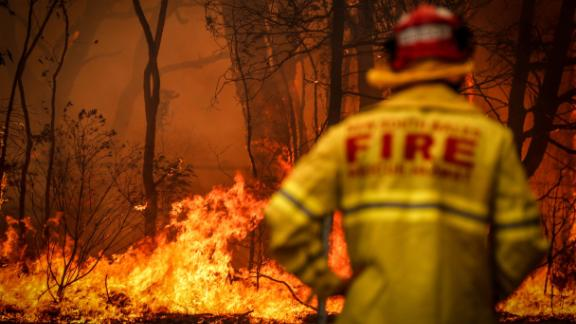 An Australian firefighter in the town of Bilpin, outside Sydney, on December 19, 2019.