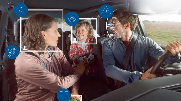 The system also monitors passengers with a front and rear camera, ensuring seatbelts are fastened and airbags are appropriately positioned.