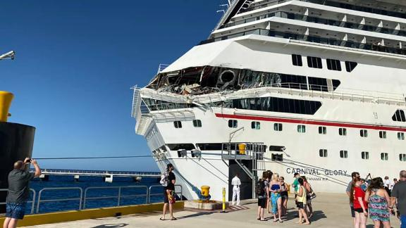 Some of the Carnival Glory decks were crushed in the collision.