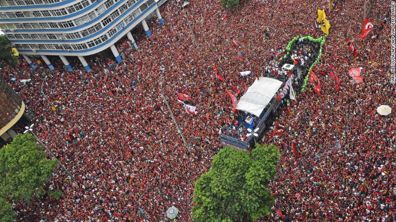 Flamengo fans during the Rio de Janeiro celebrations for the Copa Libertadores win.