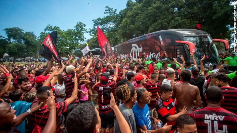 Flamengo fans send of their team as they head to the Club World Cup in Qatar.