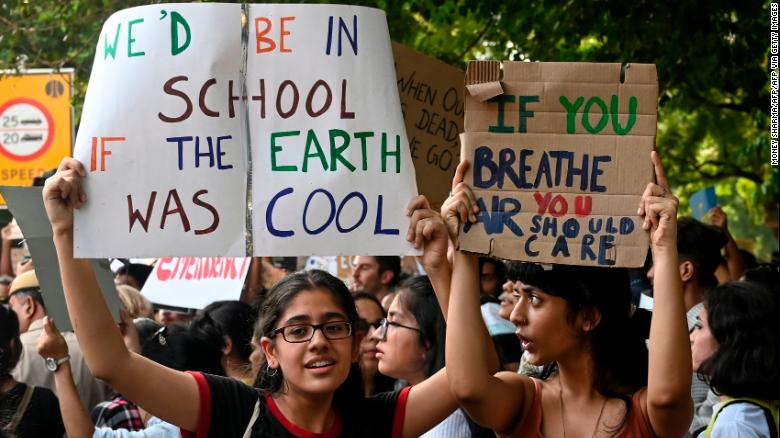 Indian youth at a climate strike in New Delhi on September 20, 2019.