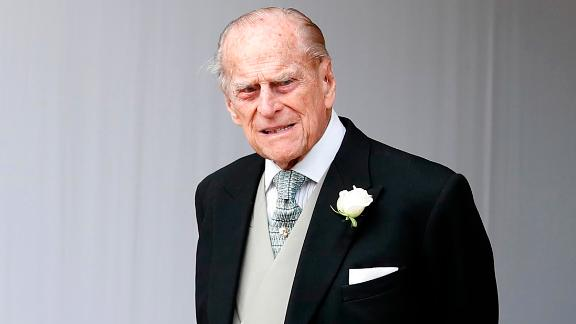 Prince Philip is seen at the wedding of his granddaughter Princess Eugenie and Jack Brooksbank in October 2018.