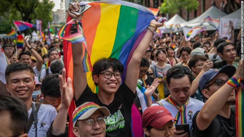People celebrate after Taiwan's Parliament voted to legalize same-sex marriage on May 17, 2019 in Taipei.