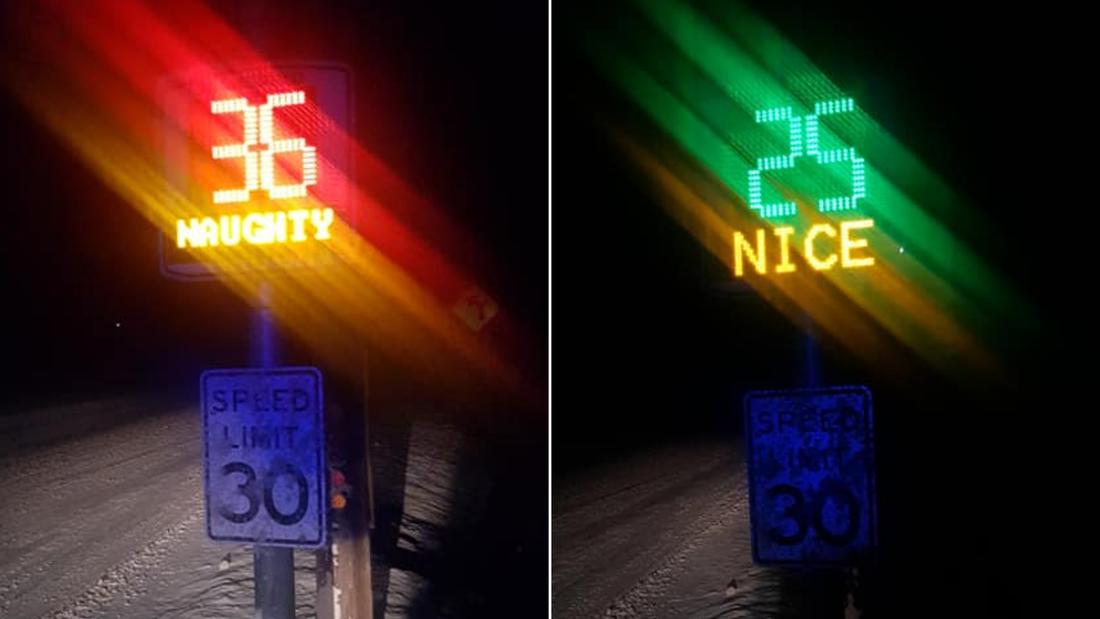 "Chester, Vermont traffic radar flashing ""naughty"" and ""nice"""