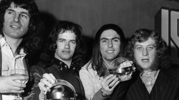 Slade in 1974. From left to right: Don Powell, Jimmy Lea, Dave Hill and Noddy Holder.