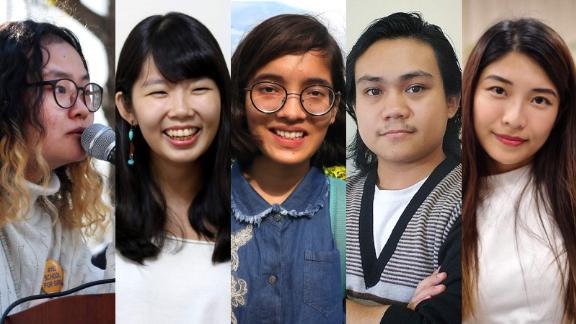Left to right: Young activists Jihye Yang, Weng Yu Ching, Ridhima Pandey, Ye Wai Phyo Aung, and Jocelyn Chau.