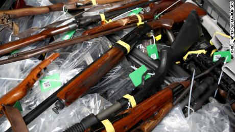 Some of the firearms that have been turned over as part of the firearms buyback program in New Zealand.
