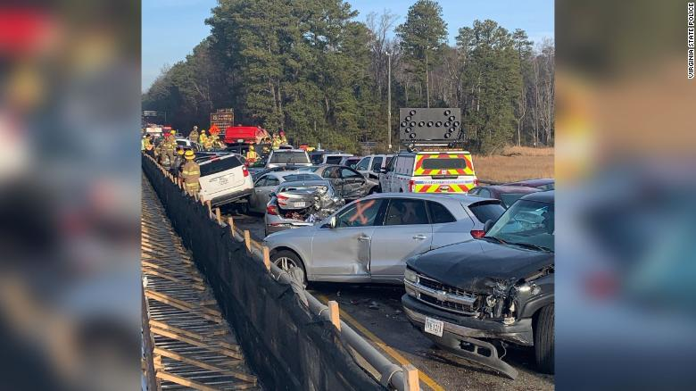 Virginia State Police photo shows the extensive pileup.