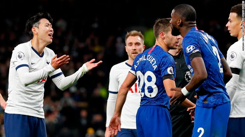 Rudiger (right) was involved in an incident that resulted in Son (left) being sent off.