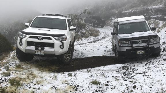 Snow is seen on the ground in Polipoli Spring State Recreation Area in Kula, Hawaii, on the island of Maui.
