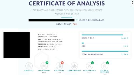 CNN had illicit THC cartridges tested for pesticides and heavy metals. This one contained illegal levels of pesticides.