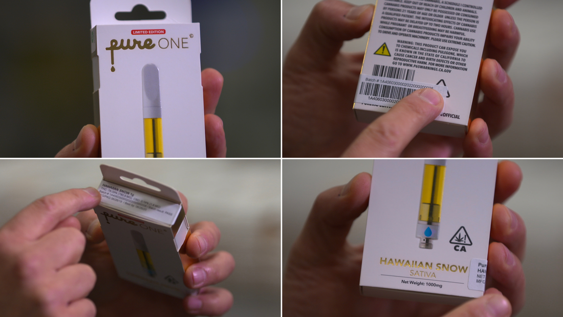 This is a legal Pure brand THC cartridge. Legal products are required to have certain markings on their packaging including state warnings, lab results and a unique identification tag.