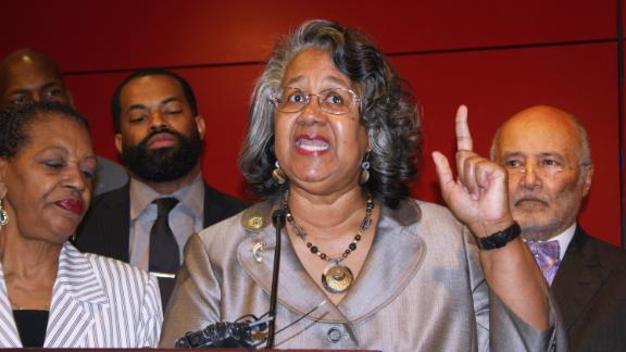 FILE - In a Wednesday, April 12, 2017 file photo, Delegate Cheryl Glenn, a Baltimore Democrat, calls for a special session to approve additional licenses to grow medical marijuana during a news conference in Baltimore. A two-count indictment unsealed Monday, Dec. 23, 2019 accuses former Baltimore lawmaker Glenn of taking more than $33,000 in bribes in exchange for various legislative actions, including for voting in favor of a measure to increase the number of medical marijuana grower and processing licenses that were availabe to an out-of-state company. (AP Photo/Brian Witte)