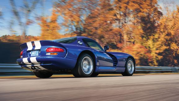 This 1997 Dodge Viper gets 450 horsepower from a huge V10 engine.