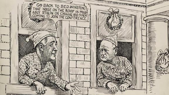 """World War II cartoon, drawn on Christmas Eve, showing President Roosevelt and British Prime Minister Churchill leaning out the windows of the White House, wearing pajamas and nightcaps. On the roof can be seen two reindeer. Roosevelt says, """"Go back to bed, Winston, that noise on the roof is probably Stalin or Chiang Kai-Shek coming to join the conference."""" When the United States entered the war after the December 7, 1941 attack on Pearl Harbor by the Japanese, Churchill immediately visited Washington, arriving on December 22 for consultations with Roosevelt. Berryman suggests that the other Allied leaders may soon be wishing to consult as well."""