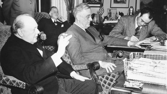 President Franklin Roosevelt and British Prime Minister Winston Churchill give a joint press conference on December 23, 1941 in the Oval Office.