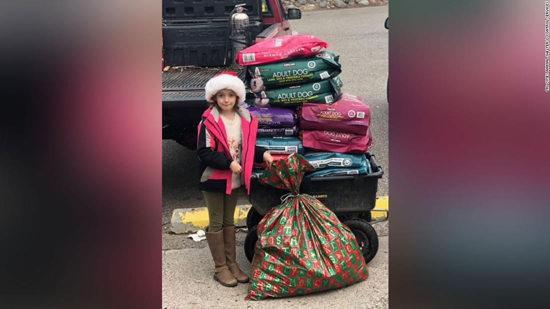Her Christmas wish was to help animals, so she got 600 pounds of pet food instead of toys