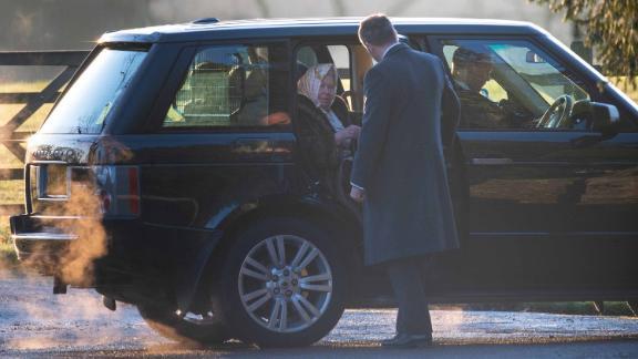 Queen Elizabeth II arrives to attend a church service in Sandringham, Norfolk on Wednesday.