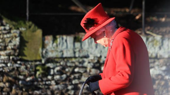 Queen Elizabeth II attends the Christmas Day church service.