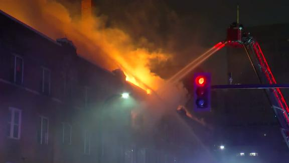 Firefighters had to evacuate the building to fight the blaze from the outside.