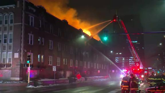 Firefighters battle the Christmas morning blaze at the Francis Drake Hotel.