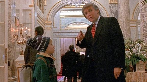 Donald Trump with Macaulay Culkin in a scene from Home Alone 2.