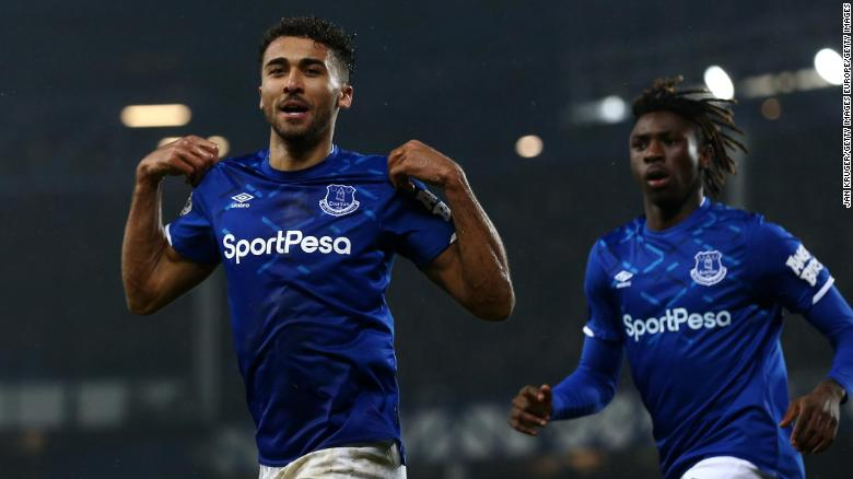 Dominic Calvert-Lewin celebrates his winning goal for Everton in the 1-0 home victory over Crystal Palace in Carlo Ancelotti's first game in charge.