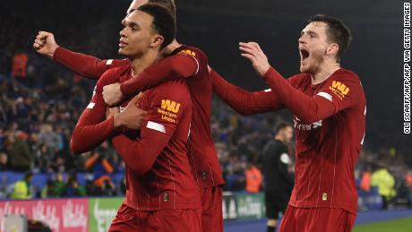 Trent Alexander-Arnold (far left) had two assists and rounded off the scoring in the rout of Leicester City.