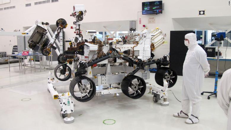The Mars 2020 rover Friday at the Jet Propulsion Laboratory near Los Angeles.